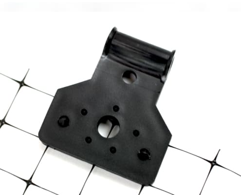 mounting clip attached to netting close up