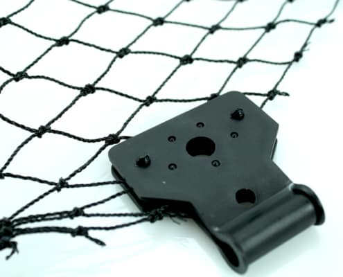 mounting clip attached to netting