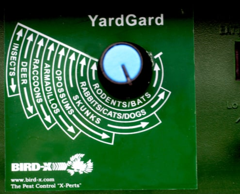 yard gard up close back of unit dial