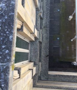 Bird droppings on the theatre's ledge