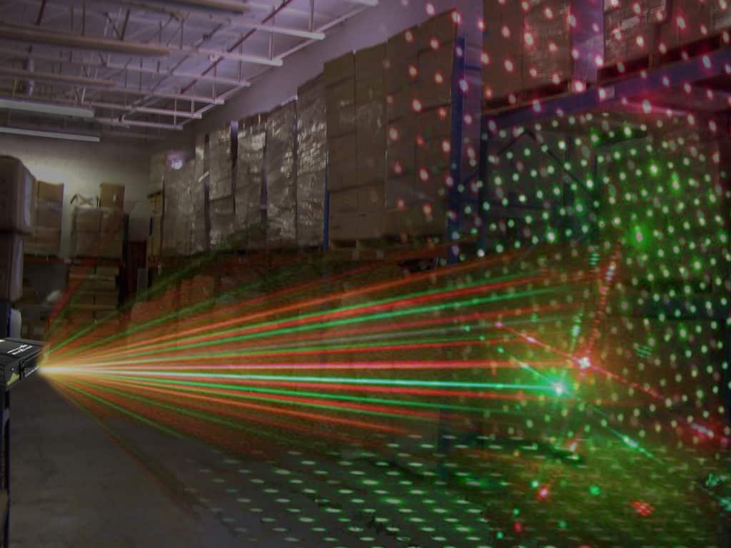 bird control laser indoors shining light
